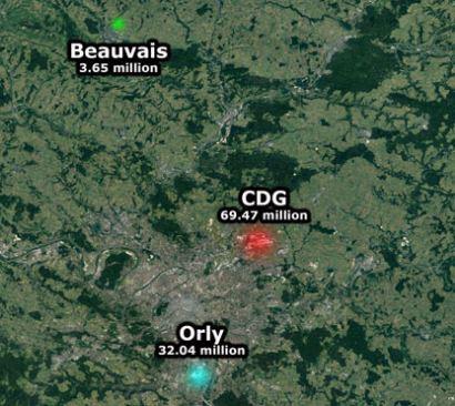 Pariisin lentokentät kartalla