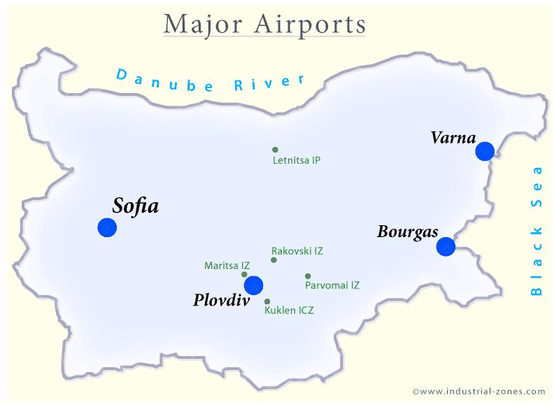 Bulgarian lenokentät kartta