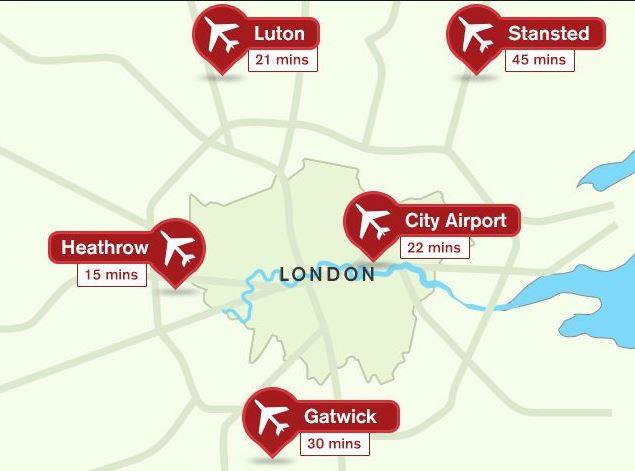 Lontoon lentokentät kartta