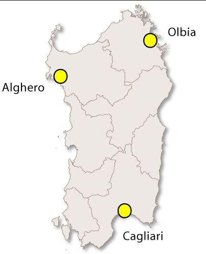 Sardinian lentokentät kartalla