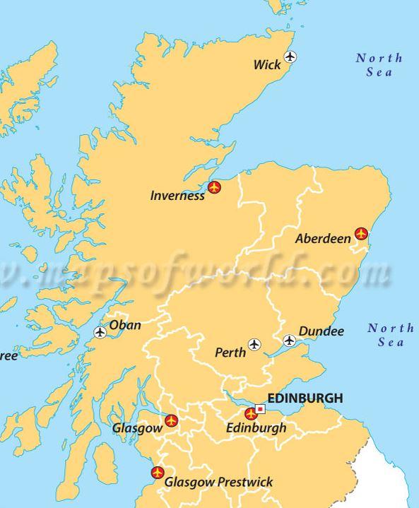 Skotlannin lentokentät kartta