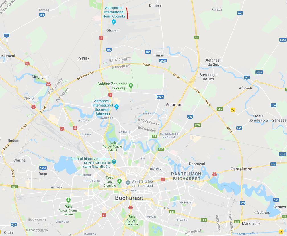 Bukarestin lentokenttä kartta