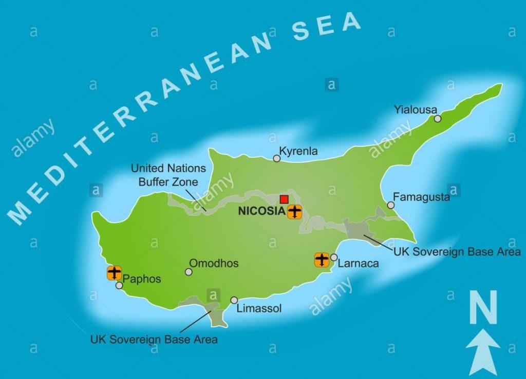 Kyproksen lentokentät kartta