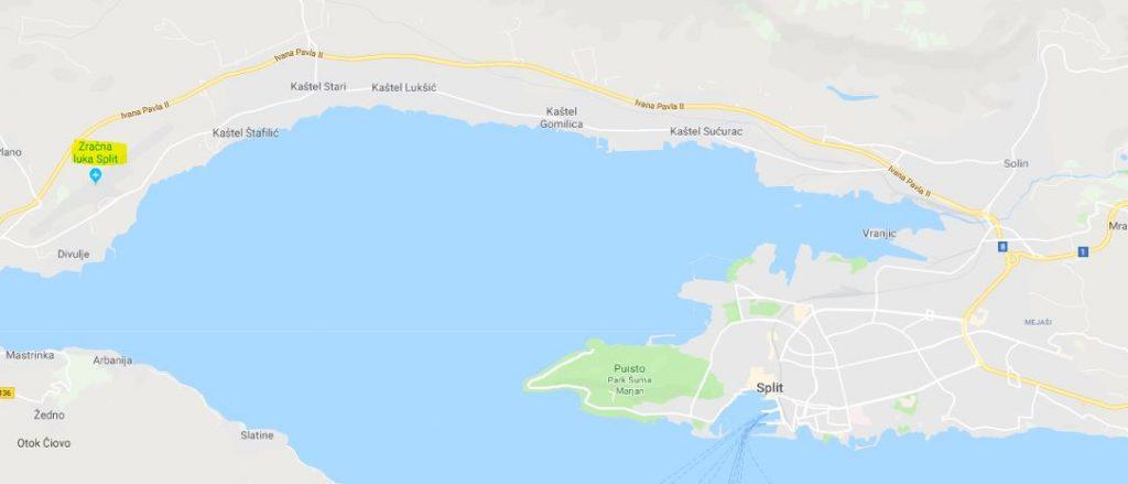 Splitin lentokenttä kartta