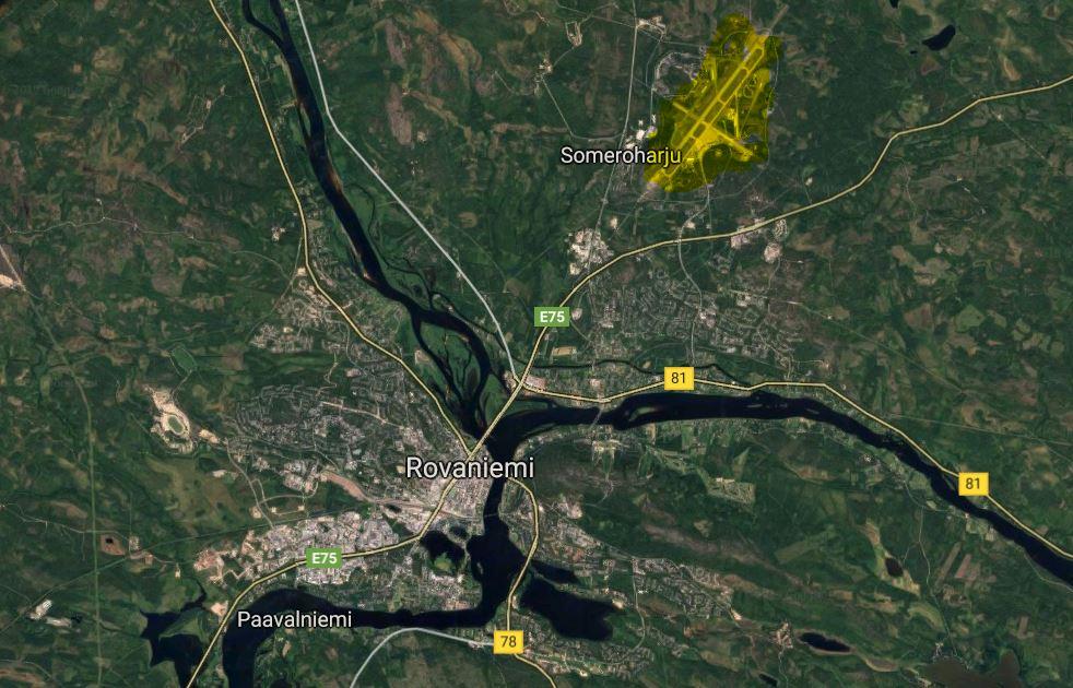 Rovaniemen lentokenttä kartta