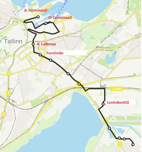 Tallinnan bussi 2:n reitti