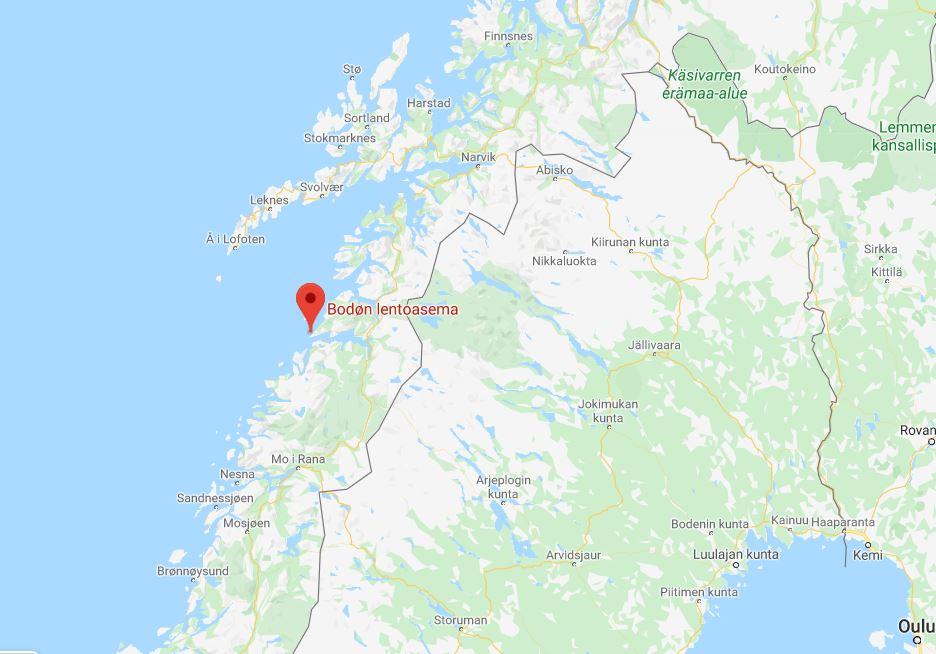 Bodøn lentokenttä kartta
