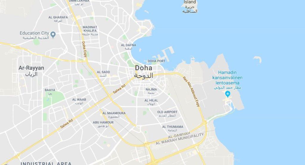 Dohan lentokenttä kartta