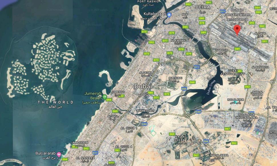 Dubain lentokenttä kartta