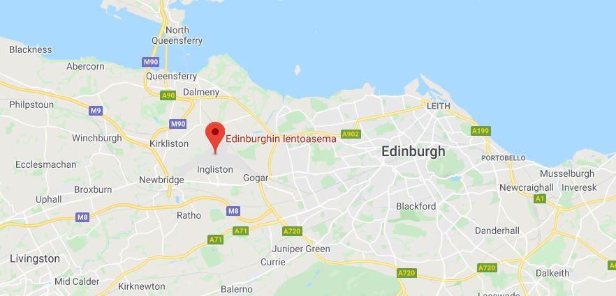 Edinburgh lentokenttä kartta