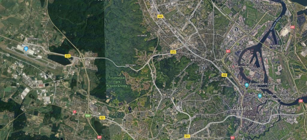 Gdansk lentokenttä kartta