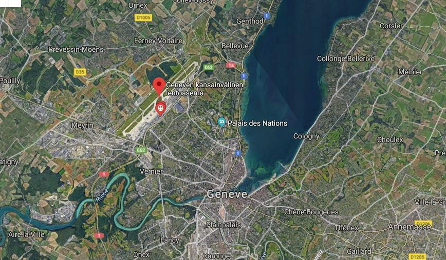 Geneven lentokenttä kartta