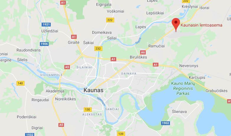 Kaunas lentokenttä kartta
