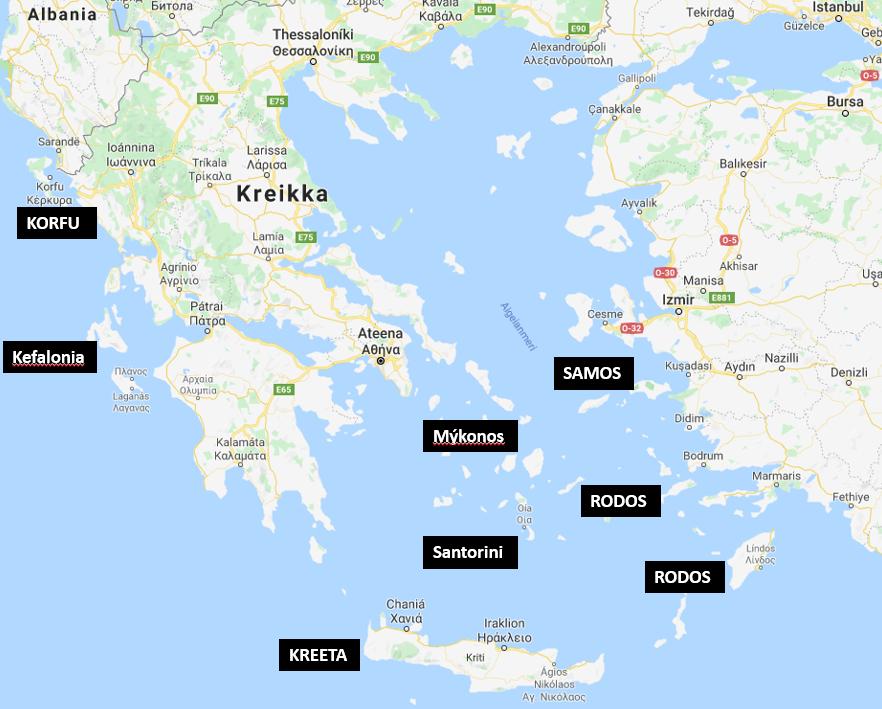 Kreikan saaret kartta