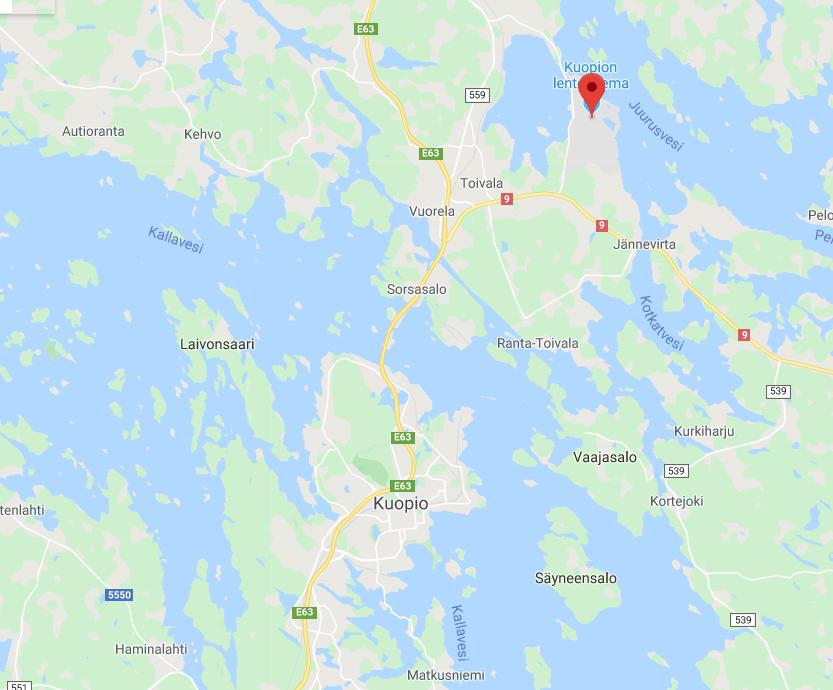 Kuopion lentokenttä kartta