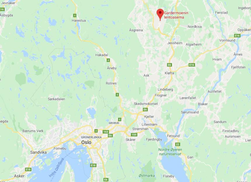 Oslon lentokenttä kartta