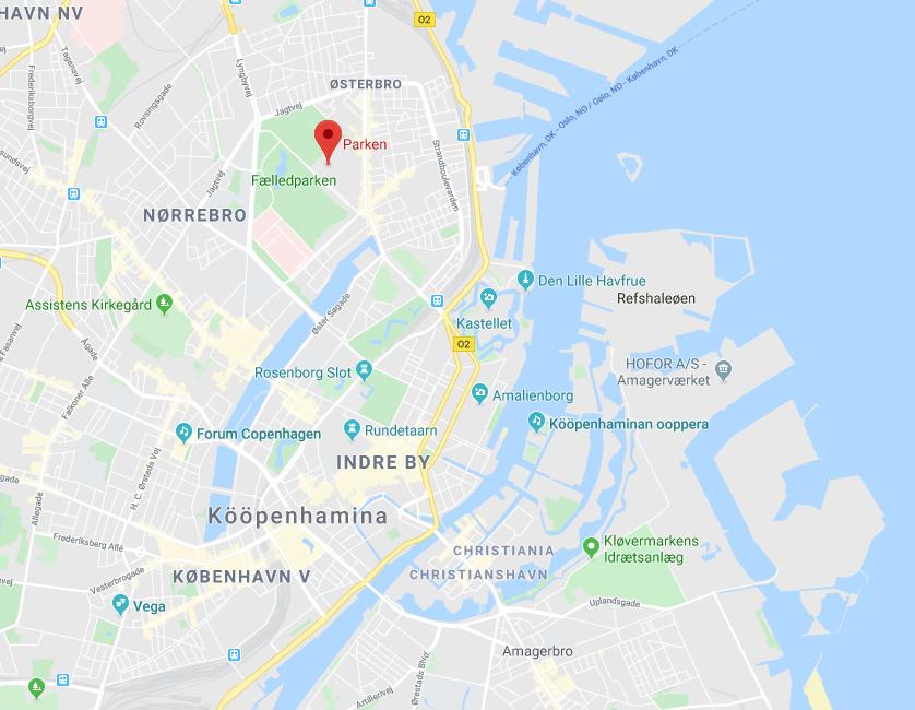 Kartta Parken Kööpenhamina