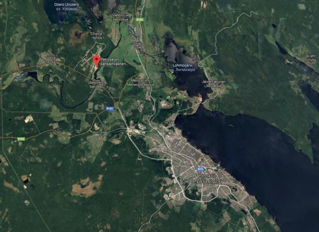 Petroskoin lentokenttä kartta