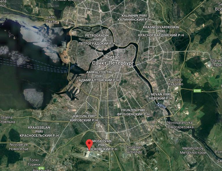 Pietari lentokenttä kartta