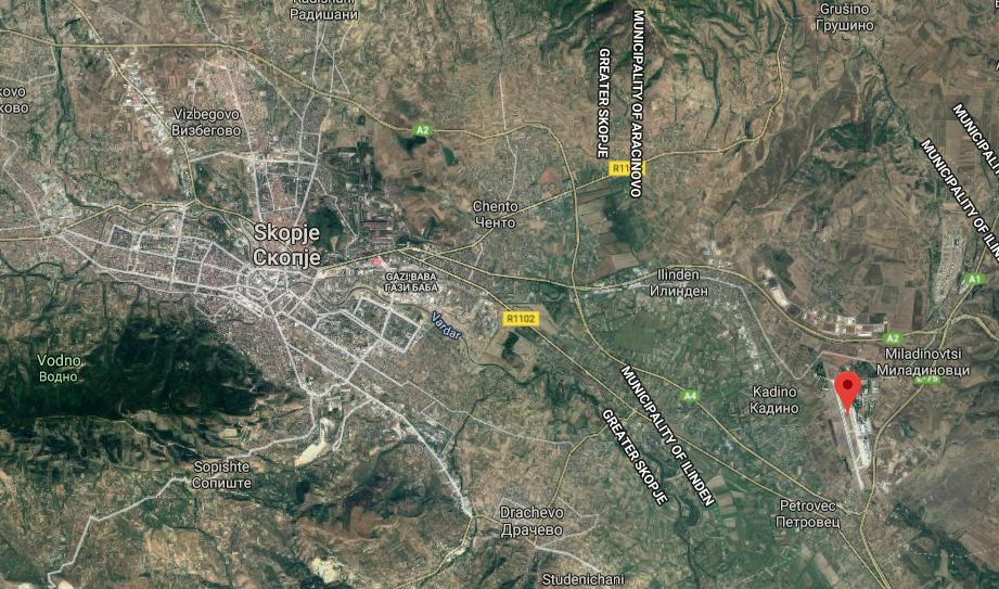 Skopje lentokenttä kartta