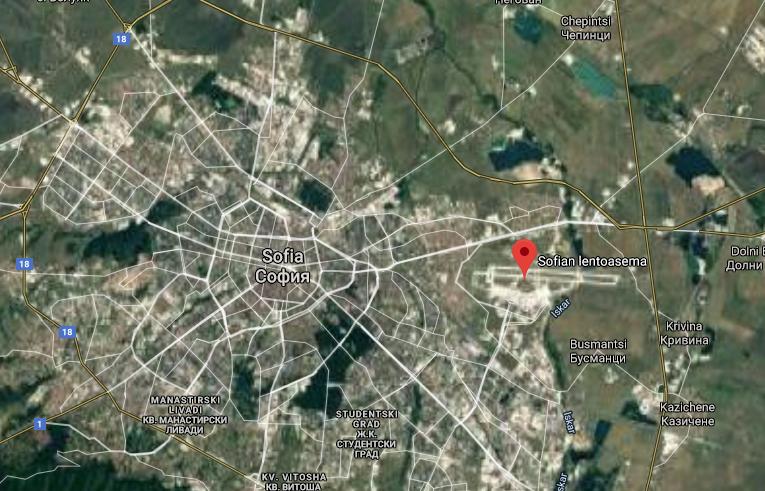 Sofia lentokenttä kartta