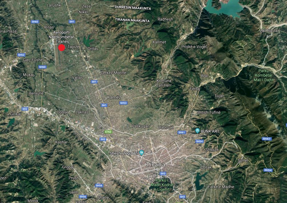 Tirana lentokenttä kartta