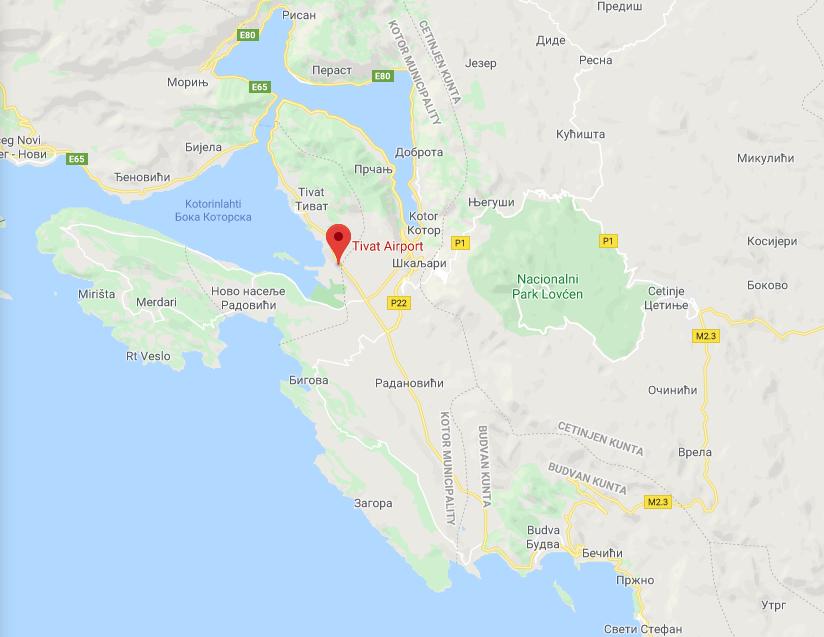 Tivat Montenegro kartta
