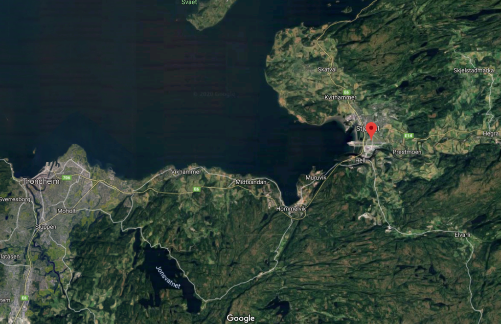 Trondheim lentokenttä kartta
