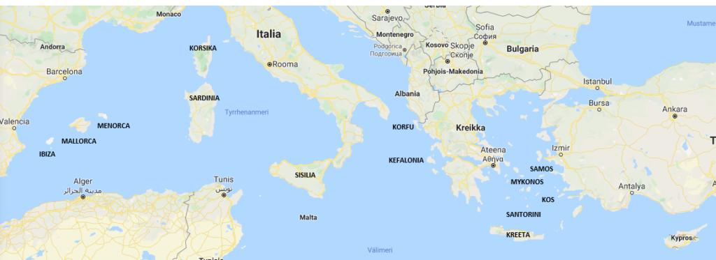 Välimeren saaret kartta suomeksi
