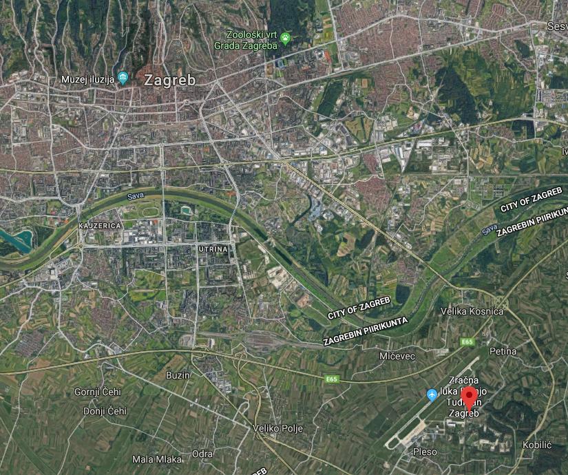 Zagreb lentokenttä kartta
