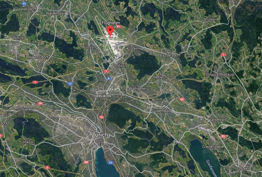 Zurich lentokenttä kartta
