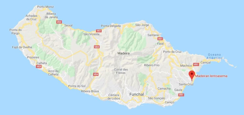 Madeiran lentokenttä kartta