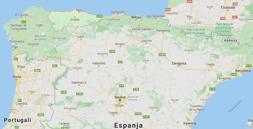 Asturia kartta