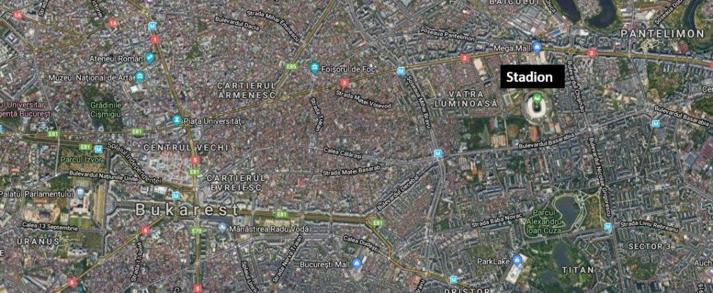 Bukarest stadion kartta