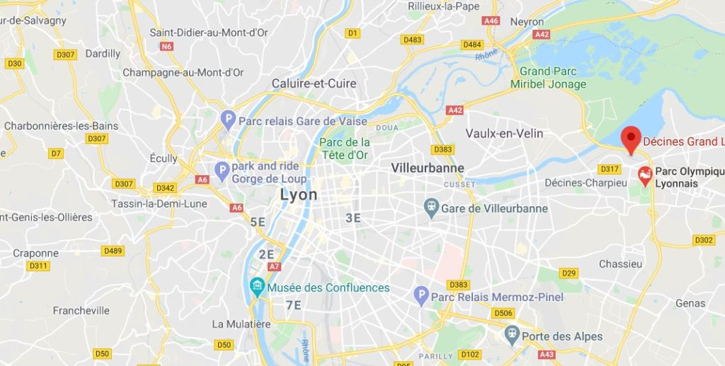 Lyon Stadion kartta