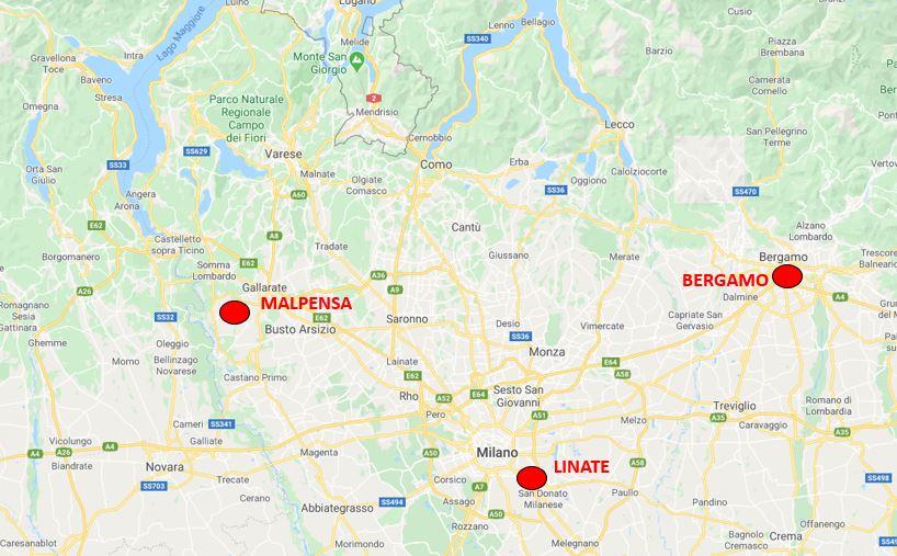 Milanon lentokentät kartta
