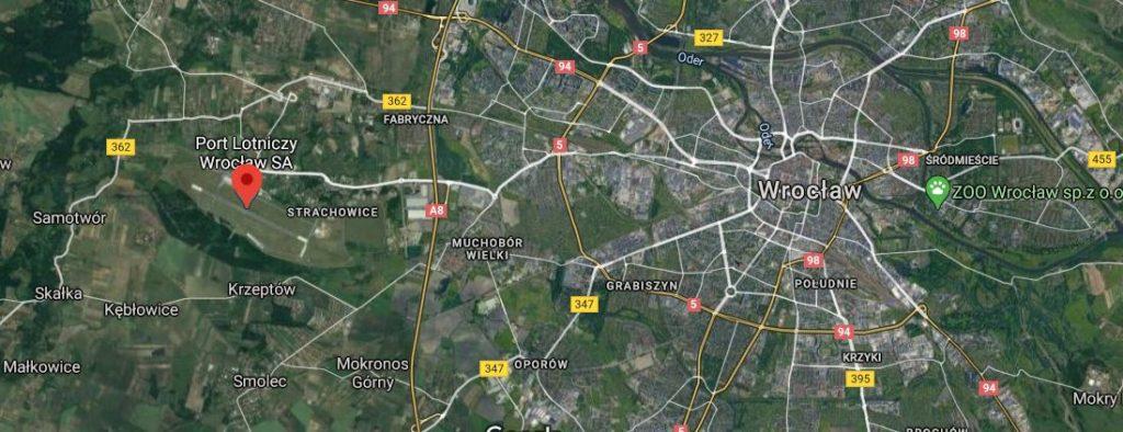 Wroclaw lentokenttä kartta