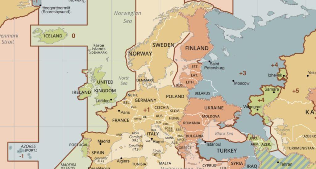 Euroopan aikavyöhykkeet kartta