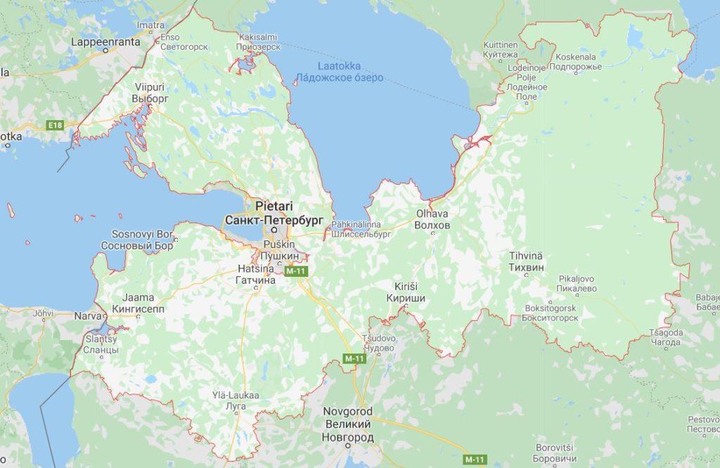Leningradin alue kartta