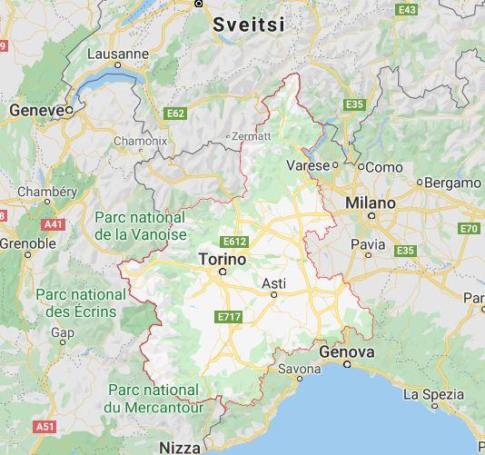 Piemonte kartta