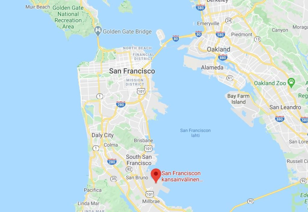 San Francisco lentokenttä kartta