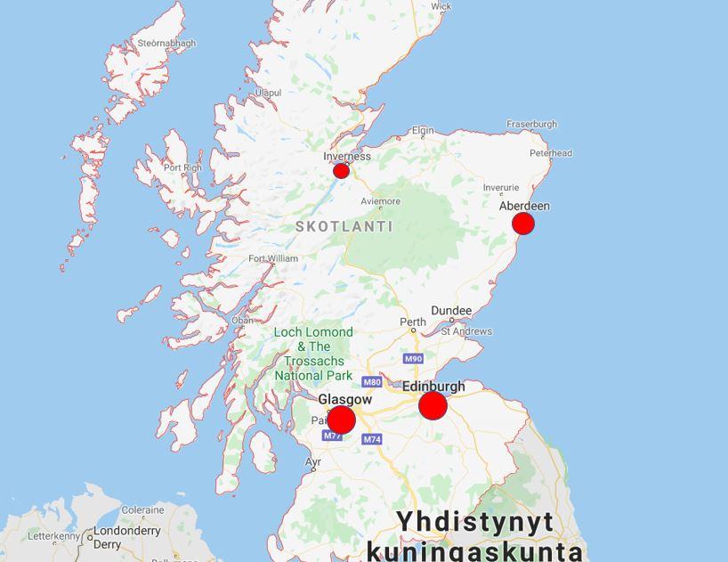 Skotlannin kaupungit kartta