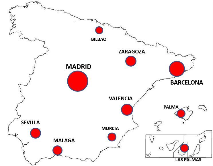 Espanjan kaupungit kartta