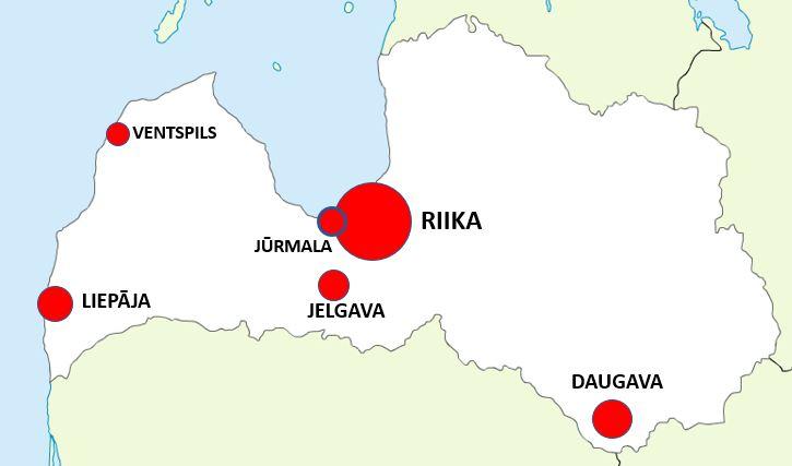 Latvian kaupungit kartta