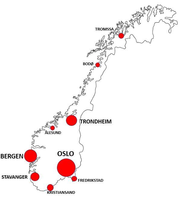 Norjan kaupungit kartalla