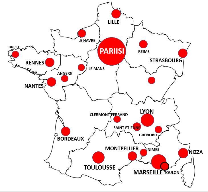 Ranskan suurimmat kaupungit kartalla