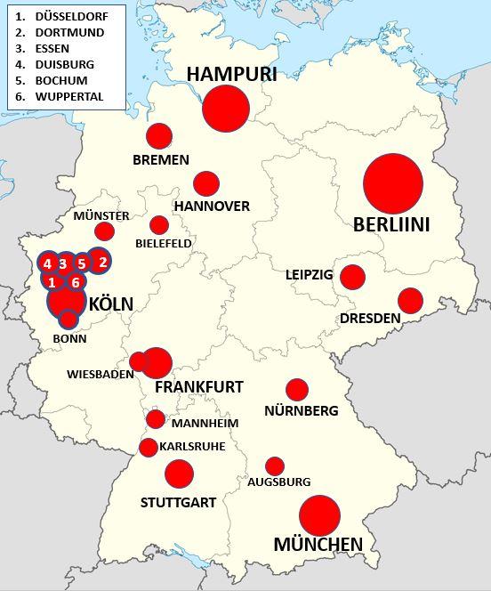 Saksan suurimmat kaupungit kartalla