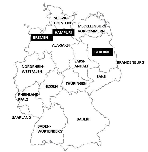 Saksan osavaltiot kartta
