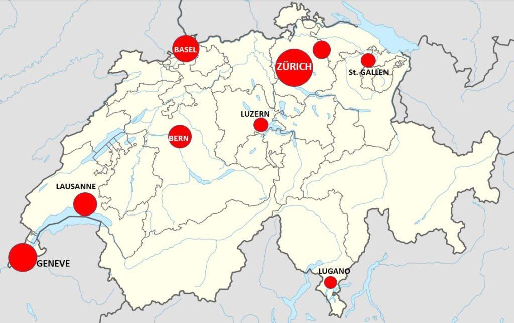 Sveitsin kaupungit kartta