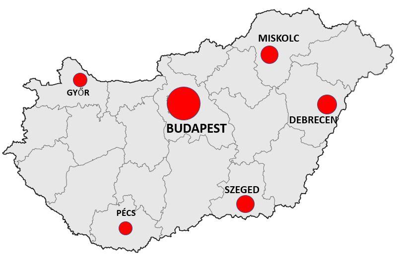 Unkarin kaupungit kartta